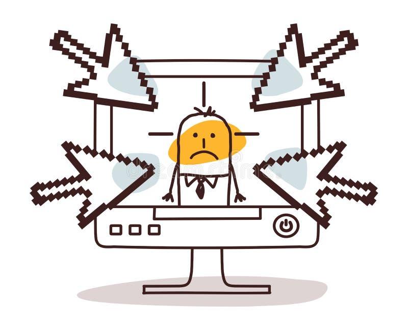 Homem de negócios no computador e em cyberbullying ilustração stock