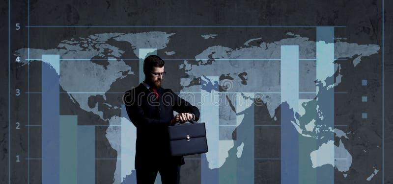 Homem de negócios no conceito do negócio, do escritório, da carreira e da tecnologia fotografia de stock