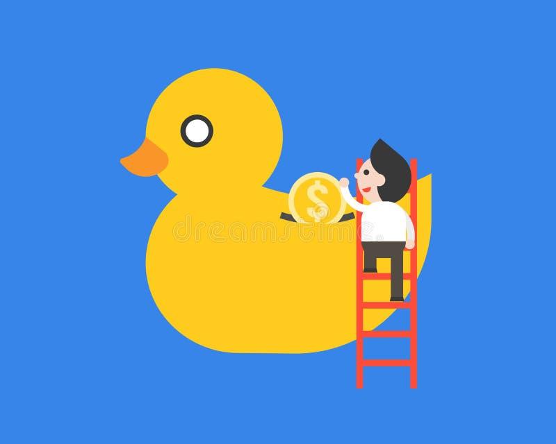 Homem de negócios no dinheiro de salvamento da escada no banco ducky ilustração royalty free