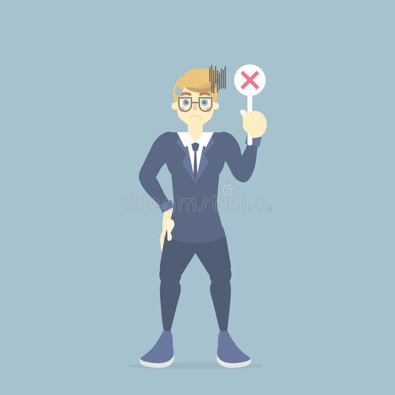homem de negócios no erro da terra arrendada do terno, símbolo incorreto, falso do sinal, conceito da finança do negócio ilustração stock