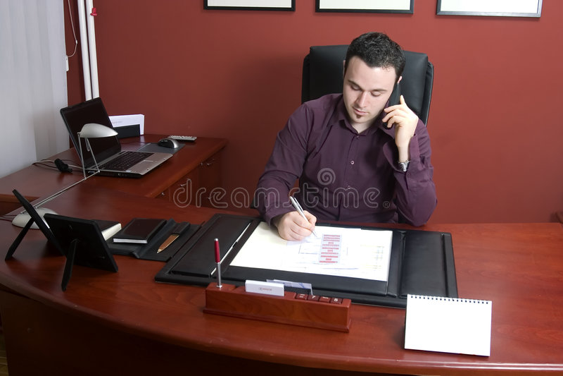 Homem de negócios no escritório fotos de stock royalty free