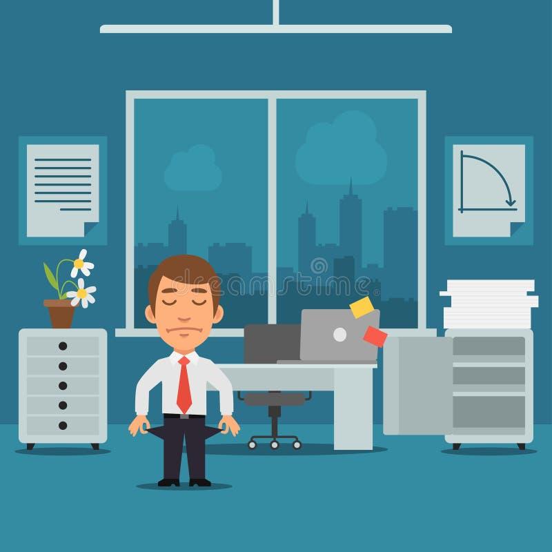Homem de negócios no escritório falido ilustração royalty free