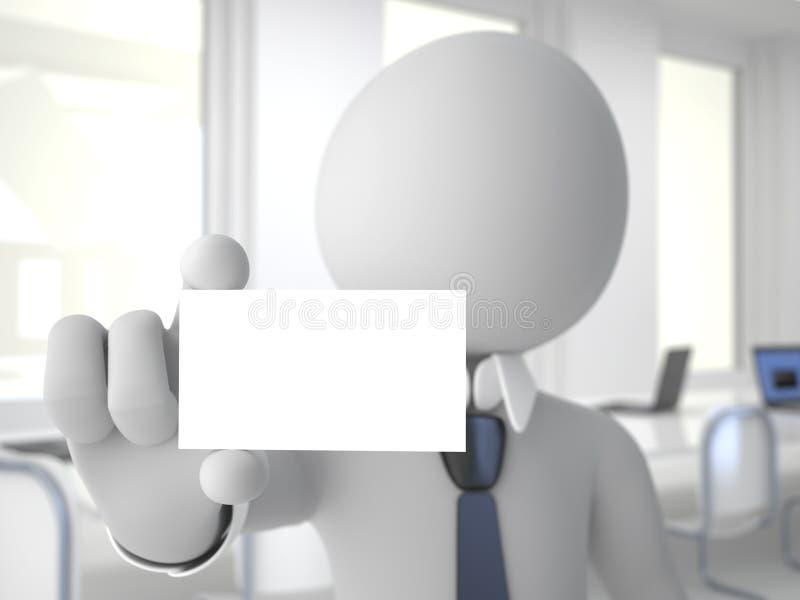 Homem de negócios no escritório que mostra um carro em branco do negócio ilustração do vetor