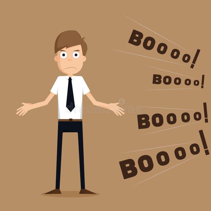 Homem de negócios no feedback do comentário da reunião ilustração royalty free