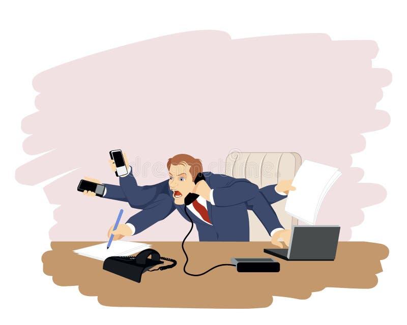 Homem de negócios no lugar de funcionamento ilustração royalty free