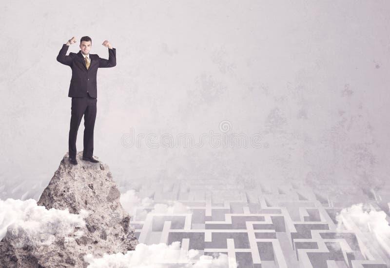 Homem de negócios no penhasco acima do labirinto imagem de stock royalty free