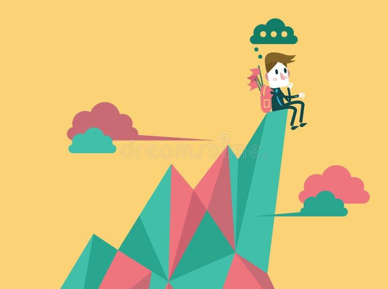Homem de negócios no pico superior e em encontrar o alvo seguinte alvo do negócio e conceito da liderança ilustração do vetor