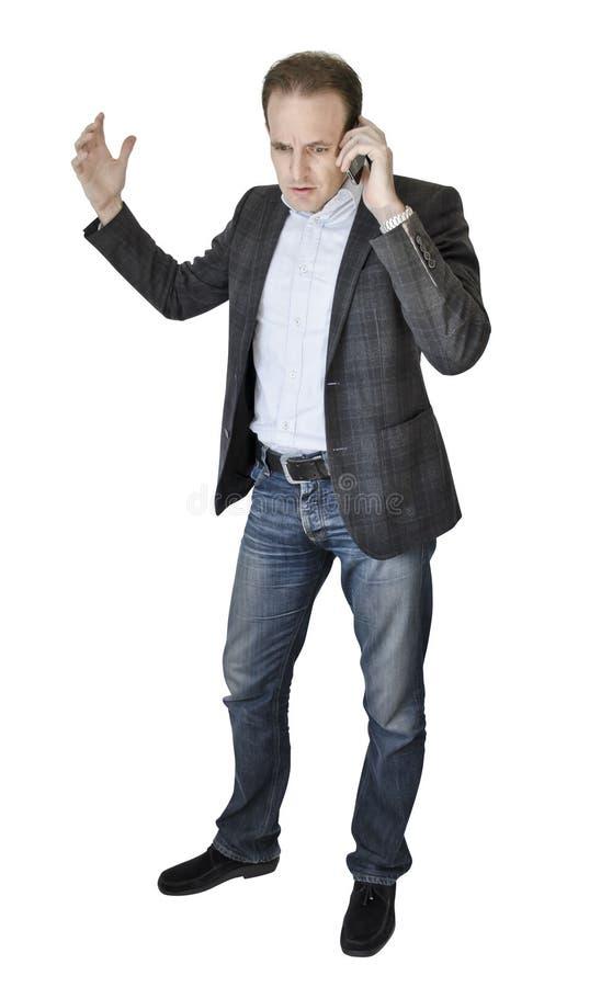 Homem de negócios no telefone fotos de stock royalty free
