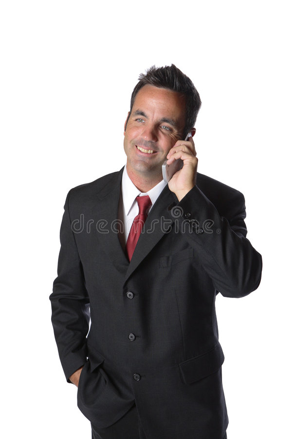 Homem de negócios no telefone de pilha fotografia de stock royalty free