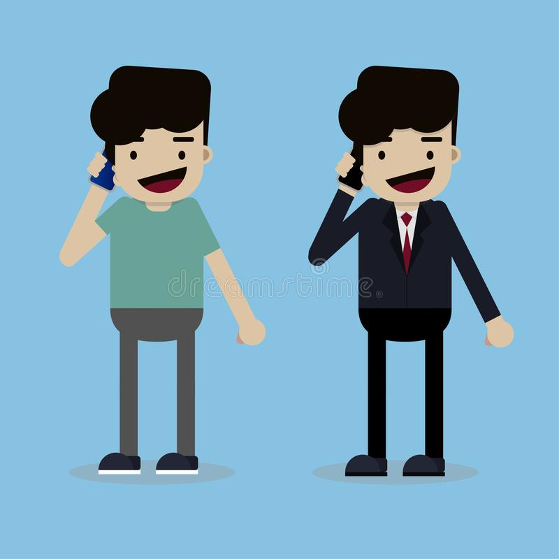 Homem de negócios no telefone e no homem novo que usa o smartphone ilustração royalty free