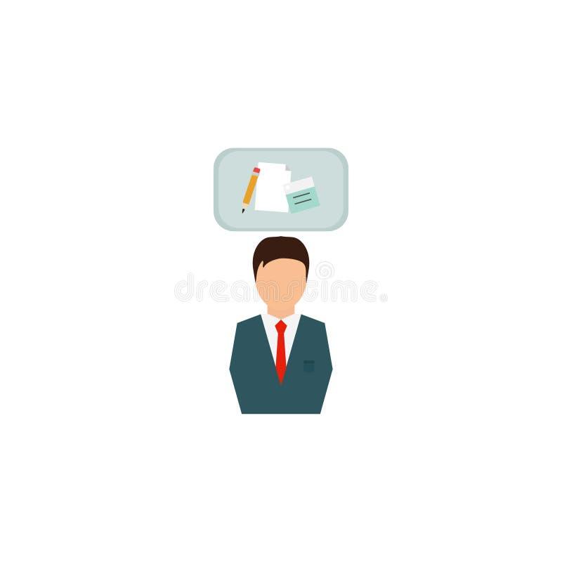 Homem de negócios no terno Conceito do negócio com ícones Homem bem sucedido vestido no terno Retrato do comprimento completo Fun ilustração royalty free