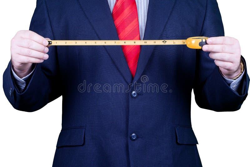 Homem de negócios no terno e no laço vermelho. imagem de stock