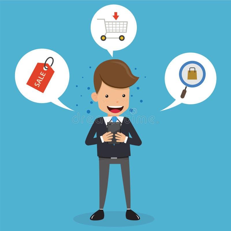 Homem de negócios no terno que compra em linha no telefone celular Estilo liso da ilustração do vetor do negócio do conceito ilustração royalty free