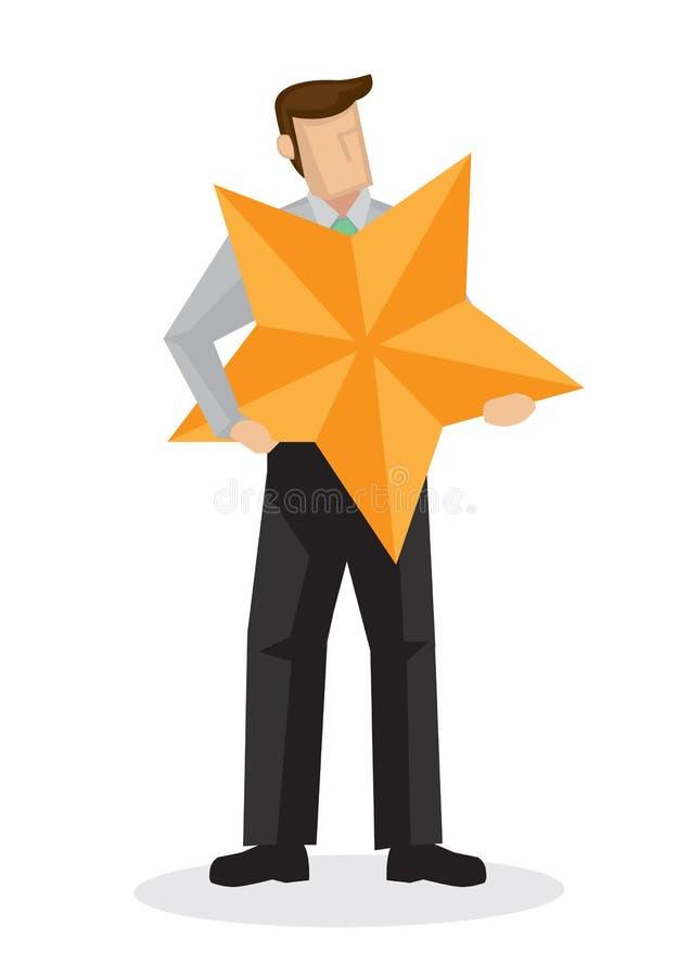 Homem de negócios no terno que guarda uma estrela gigante ilustração royalty free