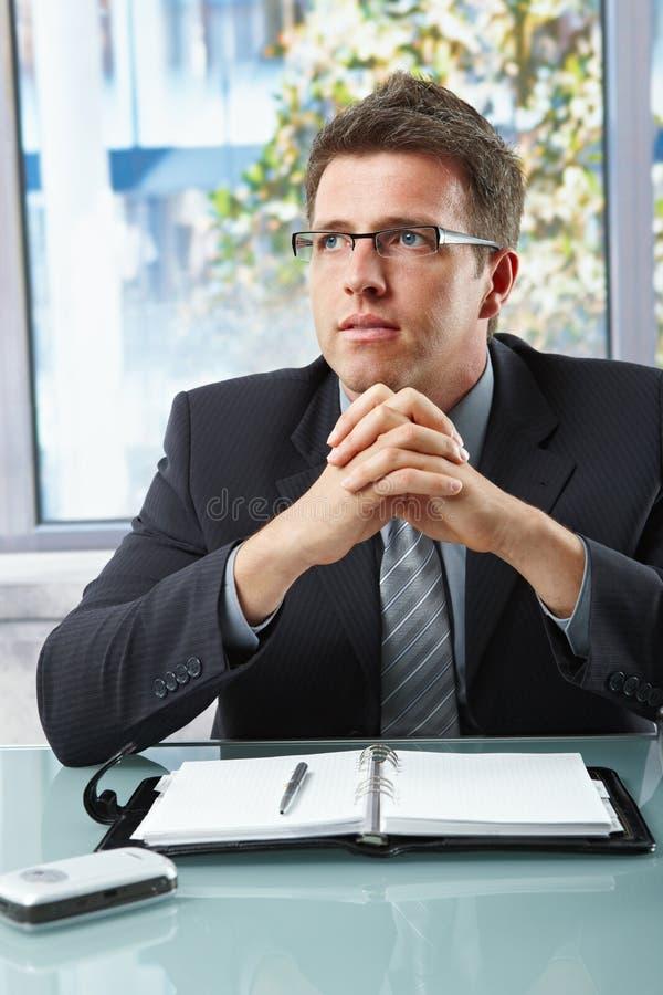 Download Homem De Negócios No Terno Que Senta-se No Escritório Imagem de Stock - Imagem de europeu, cinzento: 12801269