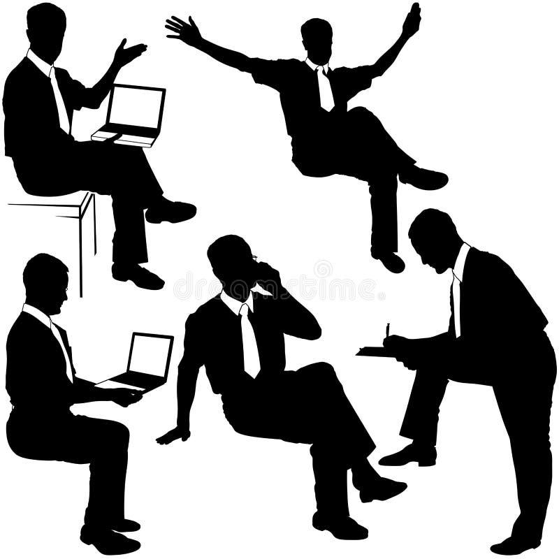 Homem de negócios no trabalho - silhuetas ilustração do vetor