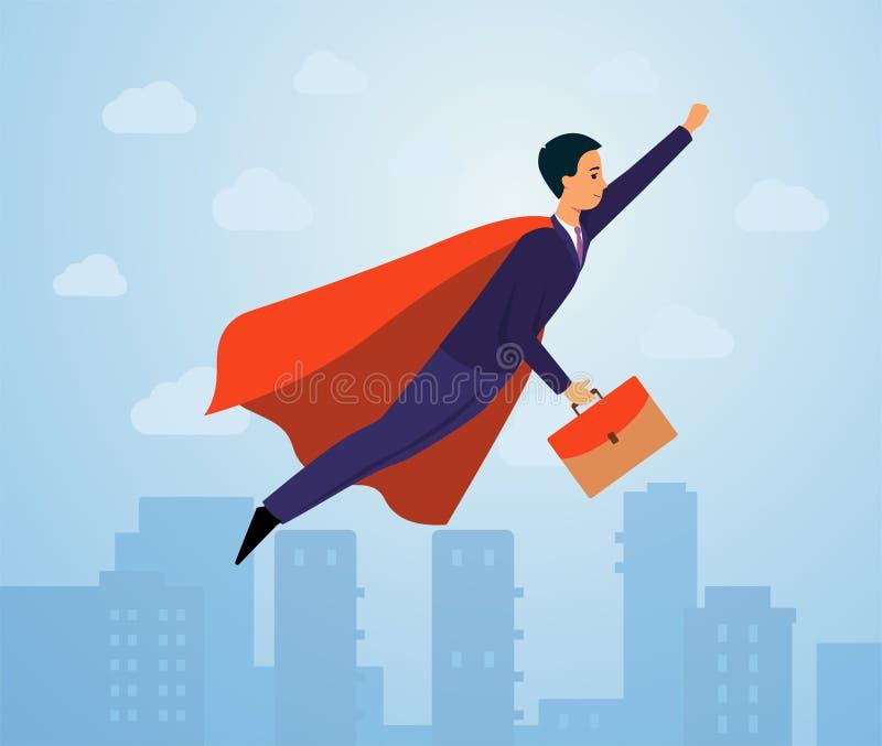 Homem de negócios no traje do super-herói e no terno de negócio com voo da mala de viagem no céu da cidade na pose do herói ilustração stock