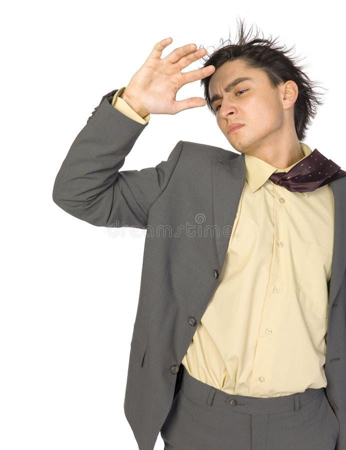 Homem de negócios no vento fotos de stock royalty free
