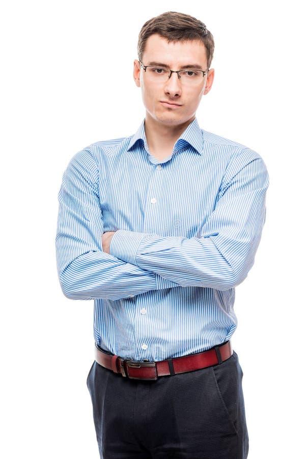 Homem de negócios nos vidros novos e muito bem sucedidos, em um branco fotos de stock