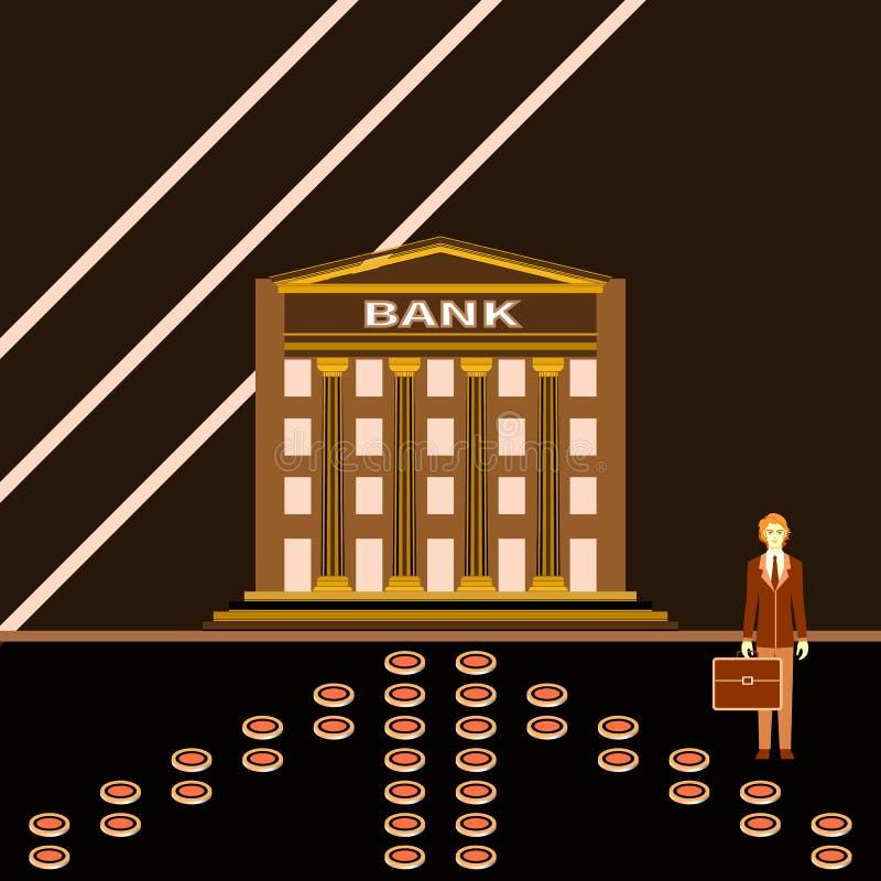Homem de negócios novo bem sucedido perto de uma construção de banco ilustração royalty free