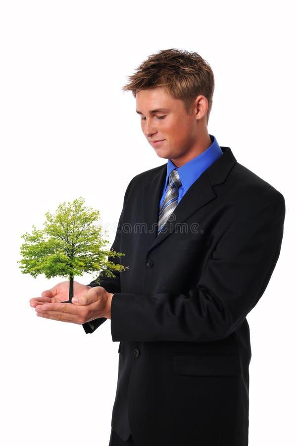 Homem de negócios novo com árvore fotos de stock royalty free