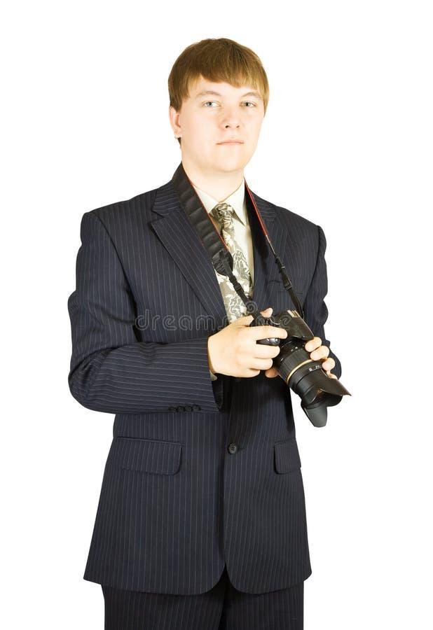 Homem de negócios novo com câmera fotos de stock