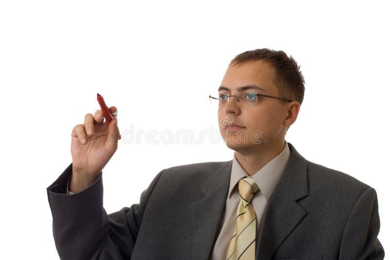 Homem de negócios novo com pena imagens de stock