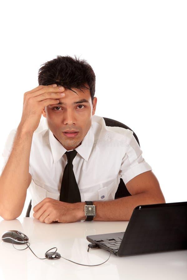 Homem de negócios novo de Nepalase preocupado fotos de stock royalty free
