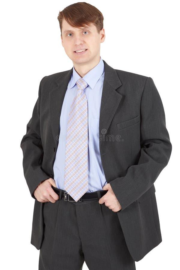 Homem de negócios novo em um terno de negócio no branco foto de stock royalty free