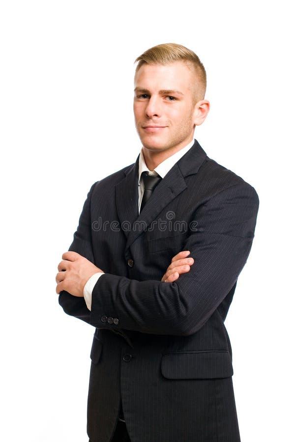 Homem de negócios novo muito confiável. imagens de stock