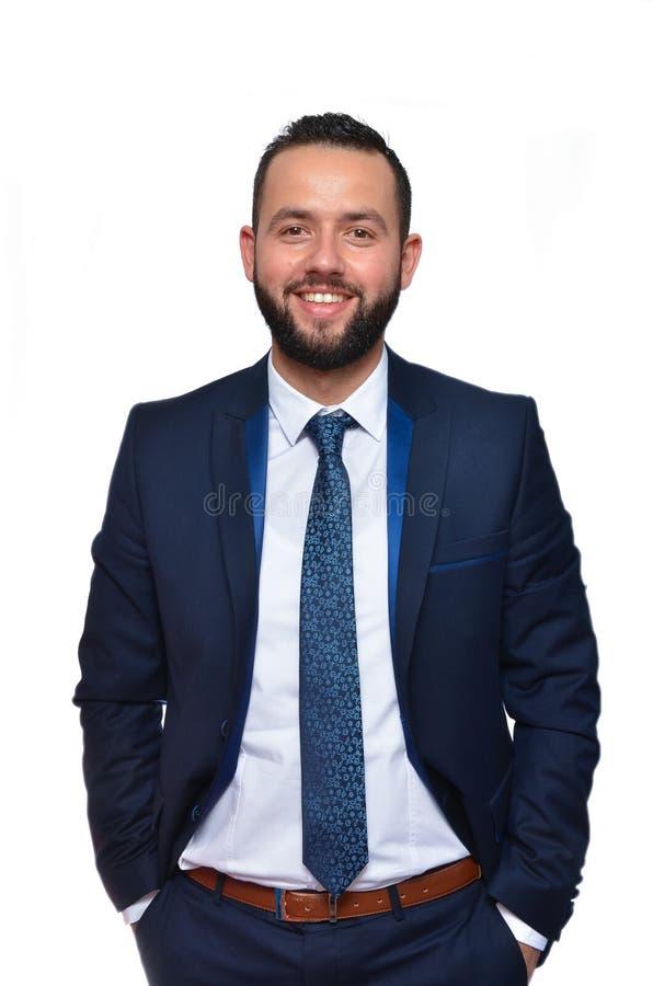 Homem de negócios novo no fundo branco imagem de stock