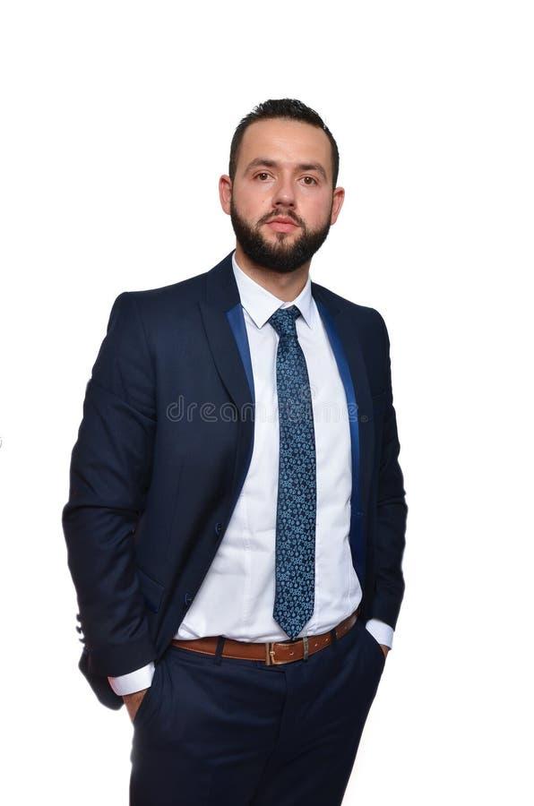 Homem de negócios novo no fundo branco fotos de stock royalty free