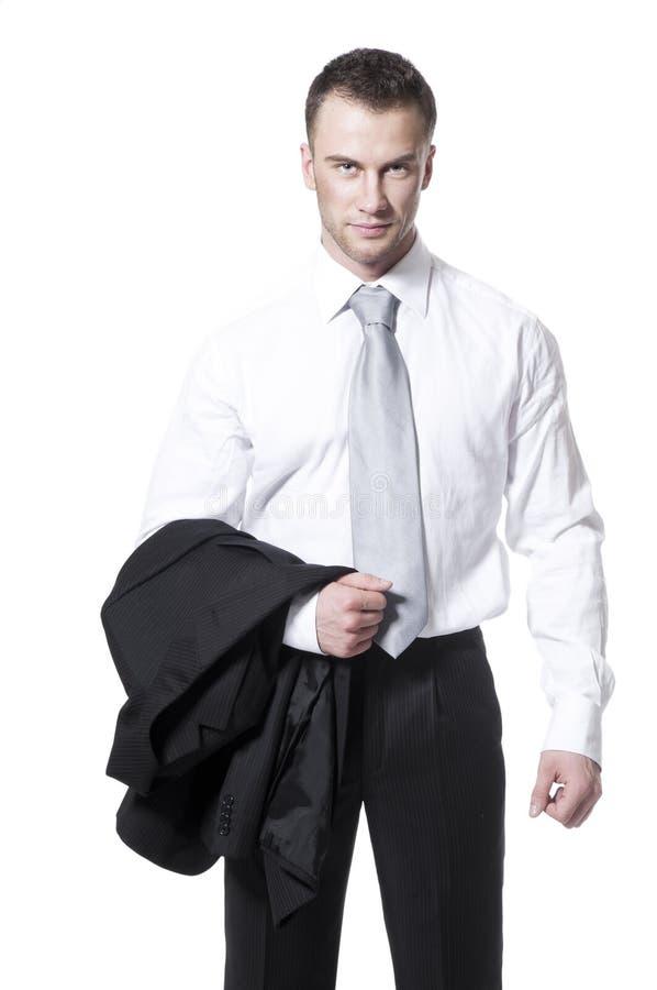 Homem de negócios novo no terno preto imagens de stock royalty free
