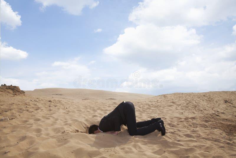 Homem de negócios novo que ajoelha-se com sua cabeça em um furo na areia fotografia de stock royalty free