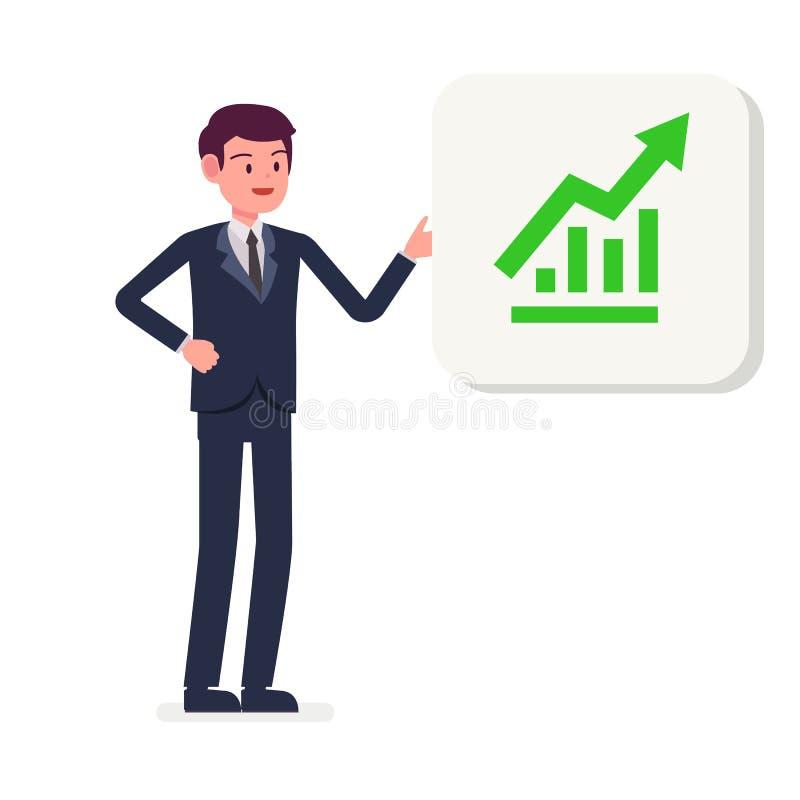 Homem de negócios novo que apresenta a ilustração crescente do vetor do ícone do gráfico Homem de negócio dos desenhos animados q ilustração royalty free