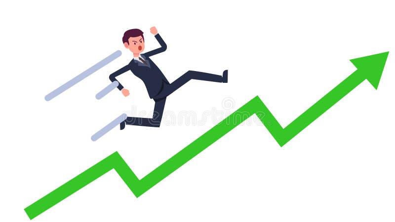 Homem de negócios novo que corre acima com vetor crescente verde do gráfico Elevação do homem de negócio dos desenhos animados co ilustração stock