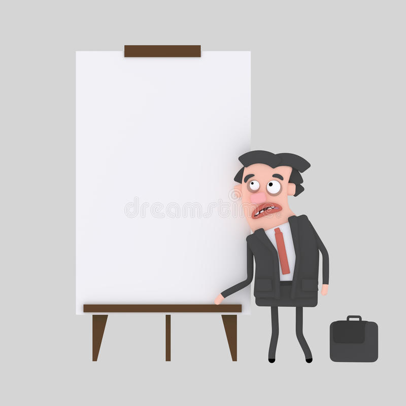 Homem de negócios novo que dá uma apresentação na placa branca ilustração do vetor