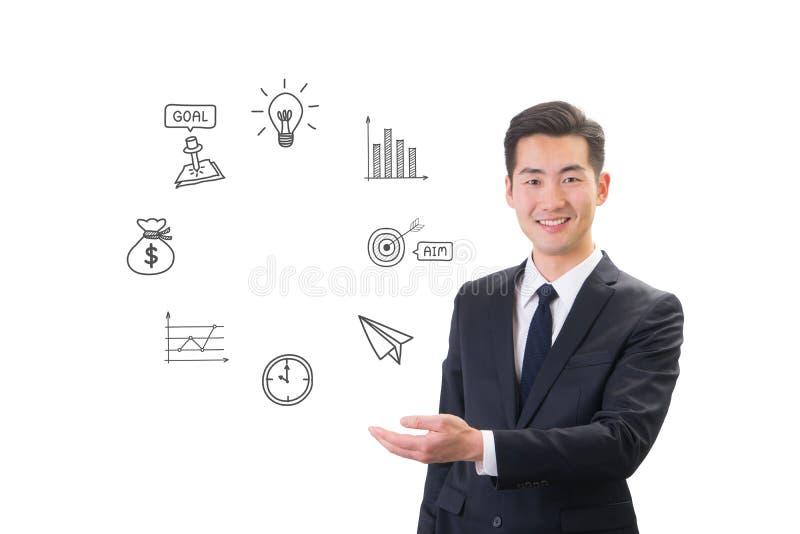 Homem de negócios novo que mostra o conceito social dos meios & do ícone do Internet imagens de stock royalty free