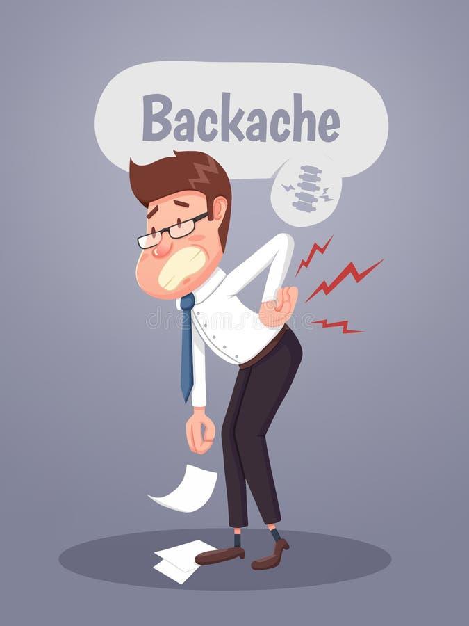 Homem de negócios novo que sofre da dor nas costas ilustração do vetor