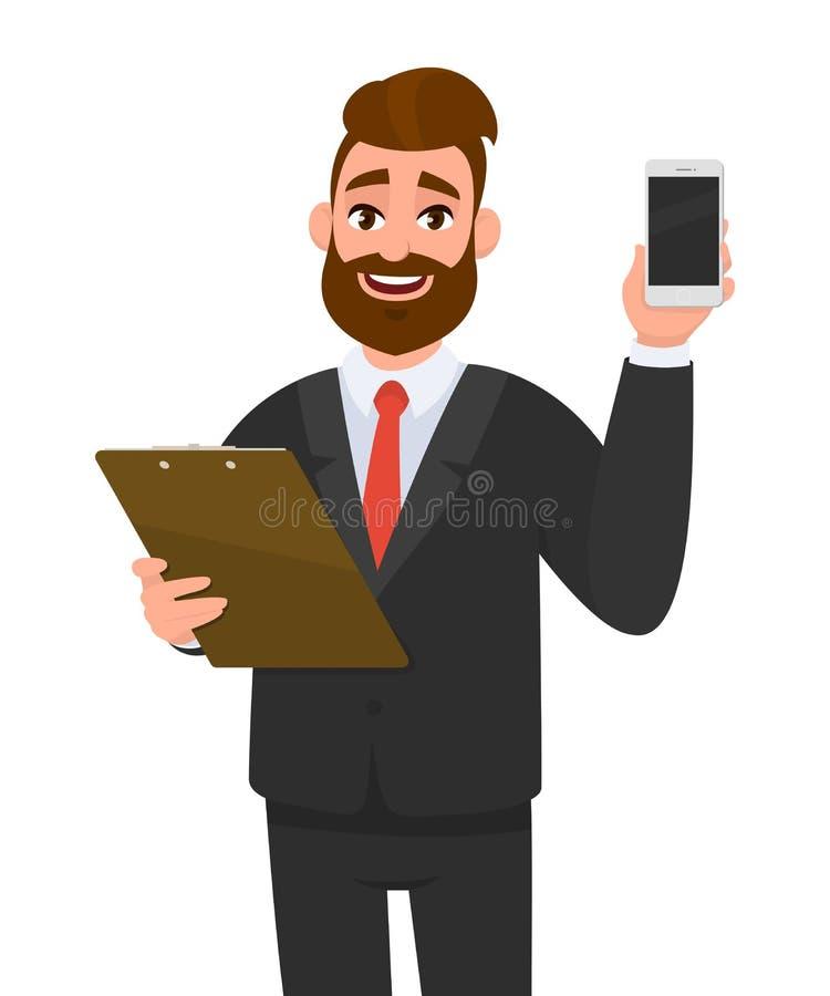 Homem de negócios novo que veste uma prancheta da terra arrendada do terno e que mostra o móbil, a pilha ou o smartphone digital  ilustração do vetor