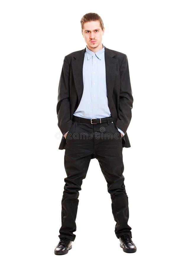 Homem de negócios novo sério fotografia de stock royalty free