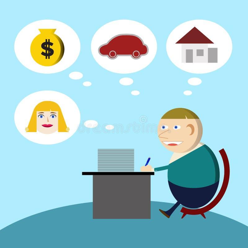 Homem de negócios novo Working duramente ilustração do vetor
