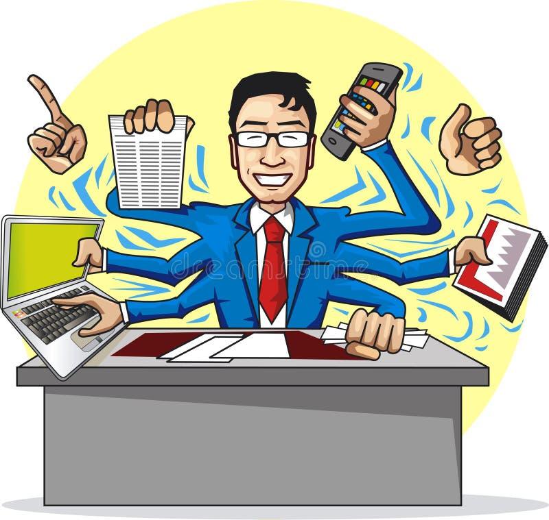 Homem de negócios ocupado ilustração royalty free
