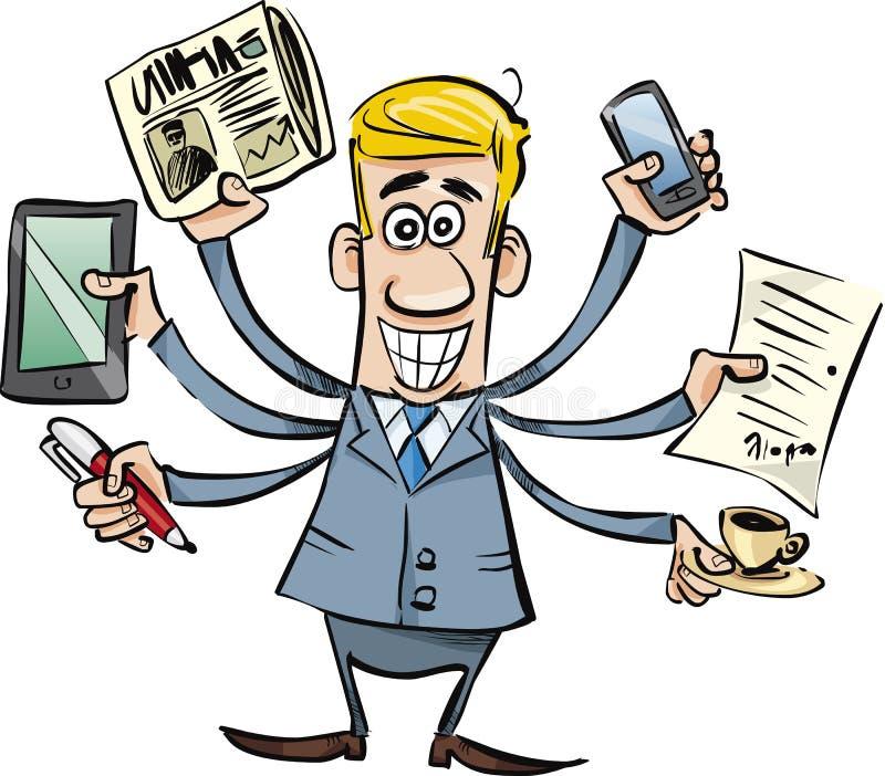 Homem de negócios ocupado ilustração stock