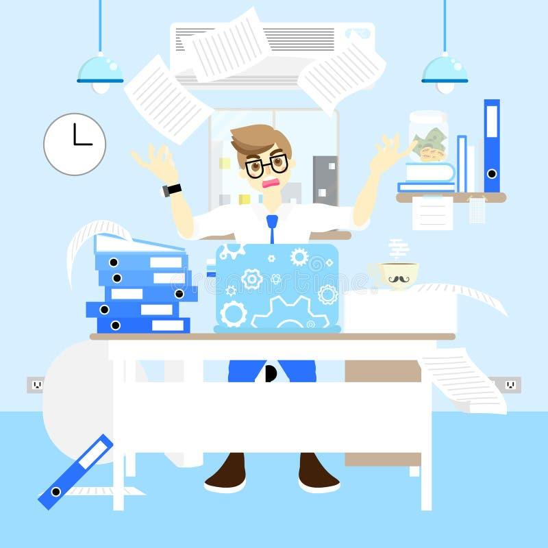 Homem de negócios ocupado e irritado que trabalha muito duramente no conceito da mesa, jogando muito papel, fundo azul do design  ilustração stock