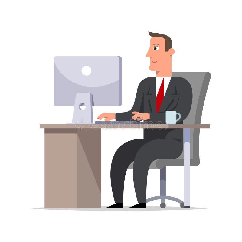 Homem de negócios ou caixeiro em um terno preto que senta-se na mesa e no wor ilustração royalty free