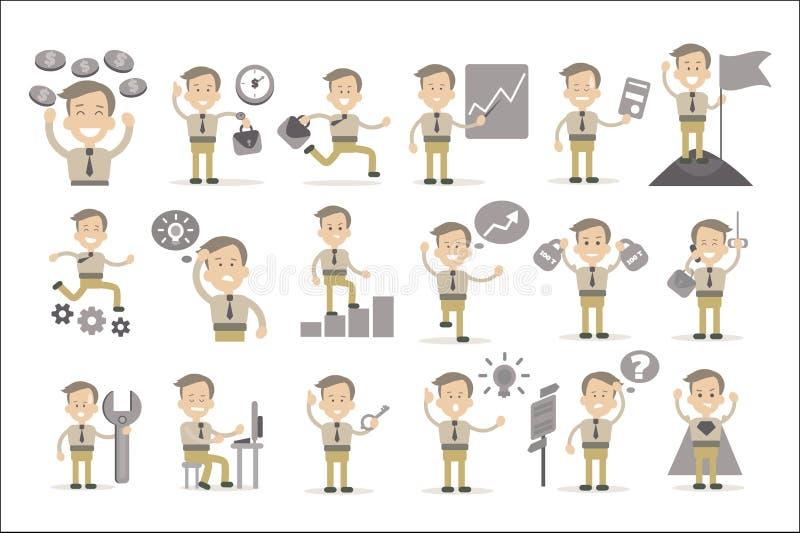Homem de negócios ou caixeiro de escritório em situações diferentes Gráficos, dinheiro, chave, mala de viagem, engrenagens, bande ilustração royalty free