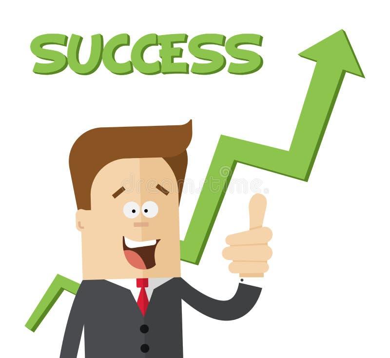Homem de negócios ou gerente feliz na carta crescente da desvantagem Ilustração lisa isolada ilustração stock