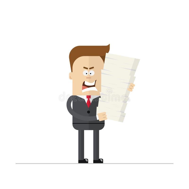 Homem de negócios ou gerente irritado dos desenhos animados durante as horas extras ilustração stock