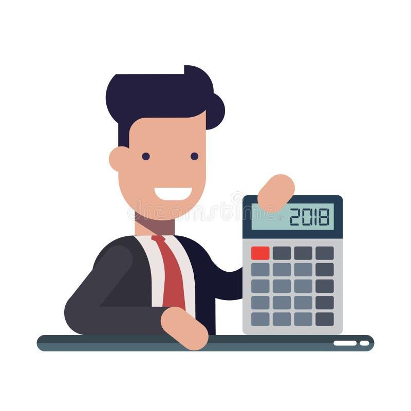 Homem de negócios ou gerente novo com a calculadora nas mãos Um financeiro experiente O conceito da instrução financeira ilustração royalty free